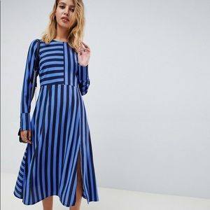 ASOS Design Midi Stripe Long Sleeve Dress 8